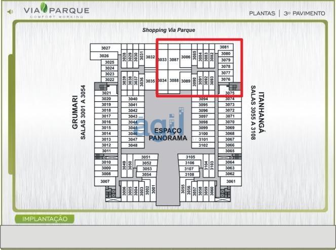 Ágil Imobiliária vende Espaço empresarial de alto luxo, recém entregue, localizado na expansão do Shopping Via Park com 870 m² lineares, através da junção de 19 salas e 30 m² de corredores.Divisão em drywall, 20 vagas de garagem.